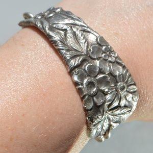 Floral Antique Sterling Silver Cuff Bracelet